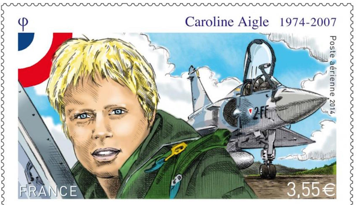 Timbre Caroline Aigle pilote de chasse